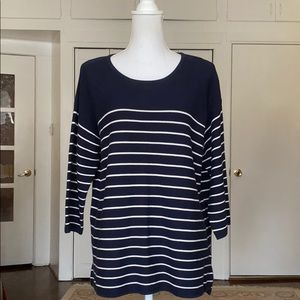 Pure Collection navy / white stripe cotton sweater